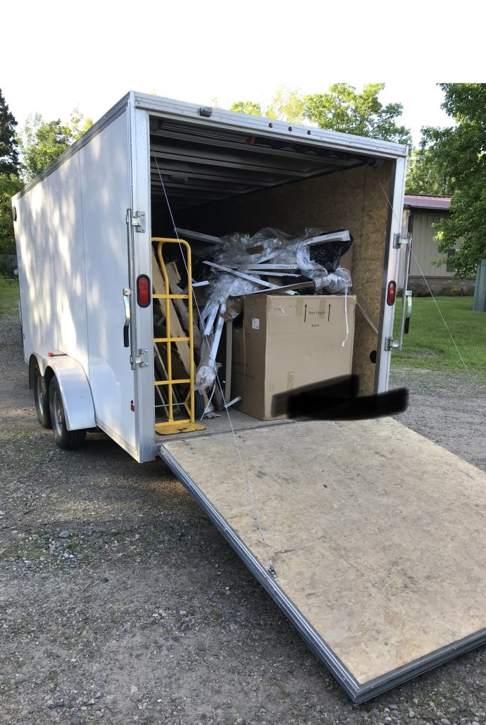 A typical semi load of goods in which I transport, assemble, and deliver.